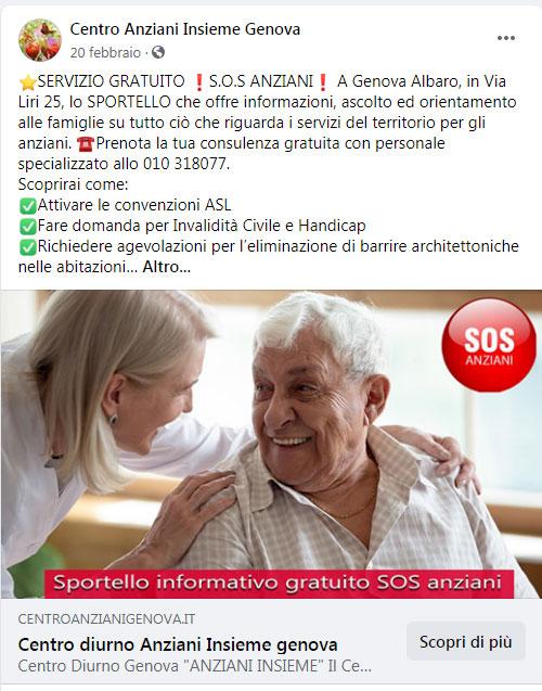 Campagna Facebook Genova Sos Anziani